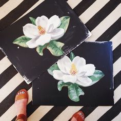 hand painted large scale magnolias