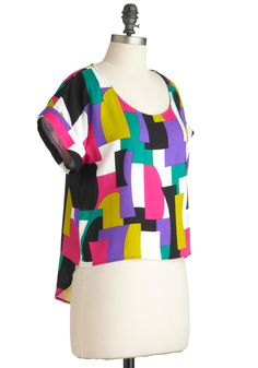 Block to Square One Top - Short, Multi, Casual, Short Sleeves, Multi, Color Block, High-Low Hem
