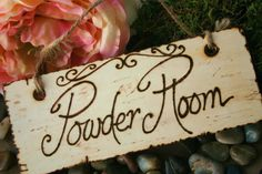 Powder Room Shabby Chic Rustic Wood Sign For Bathroom Toilette
