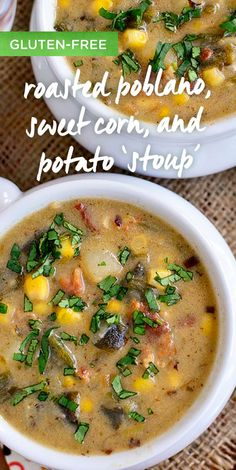 Roasted Poblano, Sweet Corn and Potato Stoup using Progresso Gluten Free Chicken Broth is a safe and delicious dish for everyone at the dinner table. May is Celiac Awareness Month - celebrate with this yummy dish from Iowa Girl Eats! Gluten Free Recipes, Yummy Recipes, Yummy Food, Gluten Free Chicken Broth, Sweet Corn, Celiac, Potato Soup, Chilis, Dinner Table