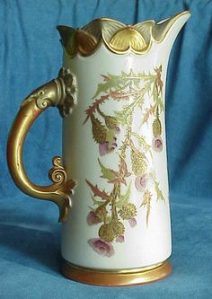 Antique Royal Worcester Purple Thistle Botanical Ivory Color Gold Tusk Pitcher  late 1800's