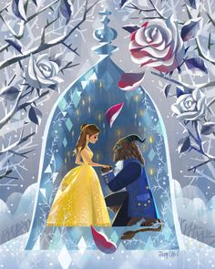 Disney's live-action Beauty and the Beast opens March 17 and to celebrate they're having a full-fledged gallery art show complete with original works,. Walt Disney, Deco Disney, Disney Love, Disney Magic, Disney Couples, Disney And Dreamworks, Disney Pixar, Disney Characters, Disney Villains
