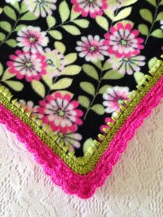 Fleece Blanket with Beautiful Soft Crocheted Edge // Large Floral Throw // Beautiful in Any Room // Hand-Crocheted Stitching - Gift For Her