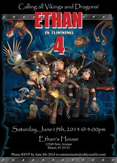 How to Train Your Dragon 2 Personalized Birthday Party Invitation