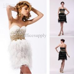 Wholesale White Gold Short Mind Cocktail Dresses with Feather Skirt amp; Beading SH3804, Free shipping, $123.2-139.44/Piece | DHgate