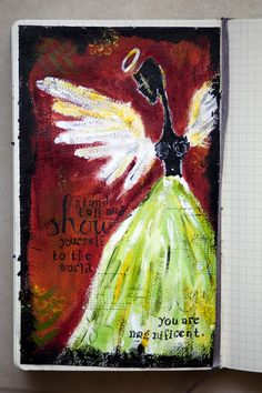 "Karen Grunberg -- she used the Balzer Designs ""Punchinella"" and ""Chevron"" stencils in the background of this art journal page."