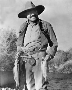 "Ernest Hemingway - Fly Fisherman, Camper, and hunter. He was an American Outdoorsman and writer. ""BIG TWO HEARTED RIVER"" one of my most favorite Hemingway tales. Fishing Photos, Fly Fishing Tips, Gone Fishing, Trout Fishing, Fishing Lures, Fishing Tricks, Fishing Stuff, Fishing Signs, Fishing Basics"