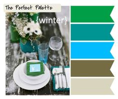 Winter color palette for decorating or wedding planning