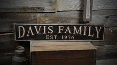 Custom Family Name Est Date Sign - Rustic Hand Made Vintage Wooden ENS1000282 #TheLiztonSignShop #RusticPrimitive