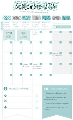 ✿ Un mois de septembre organisé {calendrier à imprimer}
