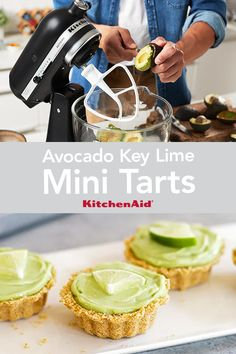 This recipe for Avocado Key Lime Tarts is a healthy take on a traditional dessert. The KitchenAid® Stand Mixer quickly mashes avocados so you can make these any night of the week. Kitchenaid Food Processor, Food Processor Recipes, Graham Cracker Crumbs, Graham Crackers, Tart Recipes, Appetizer Recipes, Stand Mixer Recipes, Kitchen Aid Recipes, Key Lime Juice