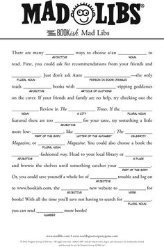 mad libs for kids - Google Search: