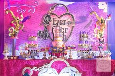 Anjelika's Ever After High Themed Party – Desserts Ever After High, 7th Birthday, Birthday Party Themes, Theme Parties, Birthday Cake, 4 Year Old Girl, Night Light Projector, Doll Party, Olympus Digital Camera