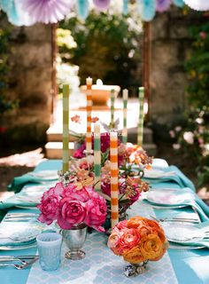 Turquoise, Pink and Orange Tablescape | Love the candles!
