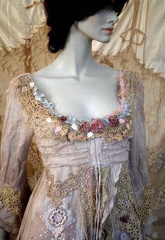 Nymph bohemian romantic hand dyed linen tunic by FleursBoheme
