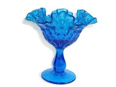Fenton Thumbprint Colonial Blue Footed Compote with Ruffled Edge Fenton Glass, Glass Collection, Antique Glass, Colored Glass, Colonial, Vintage Items, Unique Jewelry, Cobalt Blue, Nifty