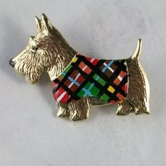 Summer Plaid Coat Vintage Gold Plated Brass and Enamel OOAK Scottie Lapel Pin…