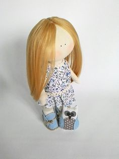 This lovely dress up fabric doll can be used for interior design and also it can be amazing gift for girl  Size 35 cm The body of a doll is made of