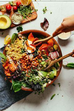 Abundance Kale Salad with Tahini Dressing | Minimalist Baker Recipes Healthy Recipes, Salad Recipes, Vegetarian Recipes, Clean Eating, Healthy Eating, Baker Recipes, Cooking Recipes, Tabbouleh Salad, Kale Salads
