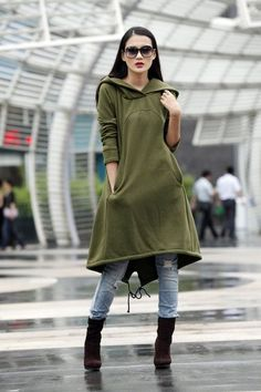 Army Green Hoodie Sweatshirt Cotton Fleece Hoodie Dress Top with Big Hood for Autumn and Spring - Custom made - Hoodie Sweatshirts, Fleece Hoodie, Hoodies, Pullover Outfit, Sweatshirt Dress, Look Fashion, Fashion Outfits, Womens Fashion, Sport Fashion