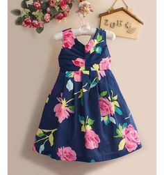 Monsoon Dress - Blue Flower - sadinashop.com  Dress atau gaun untuk bayi dan anak.