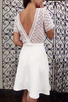 Coup de coeur pour cette jolie robe patineuse à manches 3 4 et dos en  dentelle. Composition viscose rayon. 63f767d03