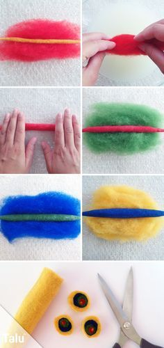Basic course: wet felting - instructions and ideas for children - Fabric Crafts for Kids and Beginners Wet Felting Projects, Felting Tutorials, Nuno Felting, Needle Felting, Felt Crafts, Fabric Crafts, Clay Crafts, Felt Necklace, Diy Jewelry Inspiration