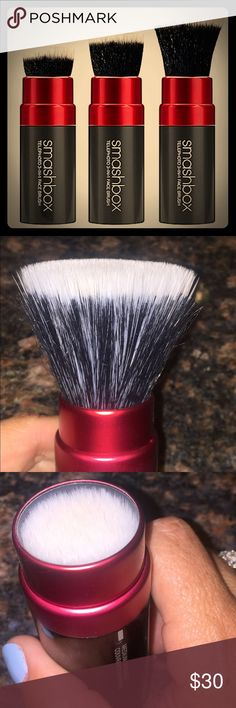 SMASHBOX telephoto brush Use for light medium and full coverage  box included. Perfect for on the go.  Stick it in your travel bag or gym bag! Had 2. ( other just sold on ♏️). This is the last one I have. 😀 Smashbox Makeup Brushes & Tools