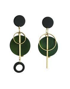 #VIPme Green Vintage Asymmetry Wood Earrings ❤️ Get more outfit ideas and style inspiration from fashion designers at VIPme.com.