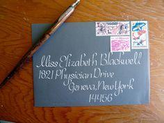 Wedding Calligraphy - Elegant Charcoal and Silver Envelope Addressing.