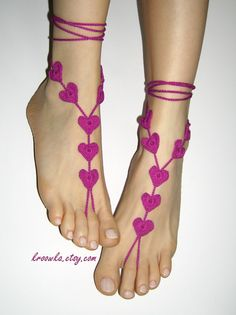 Crochet Barefoot Sandals     I'd like to make a pair of them...