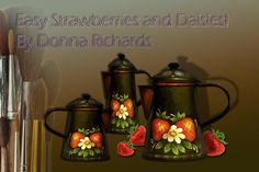 Learn to paint simple Peter Ompir style strawberries and daisies on a tin surface. This free painting pattern is ready for immediate down from the Art Apprentice Online. Crackle Painting, Cow Painting, One Stroke Painting, Wine Glass Designs, Tole Painting Patterns, Painted Trays, Collage Making, Pattern Art, Art Patterns