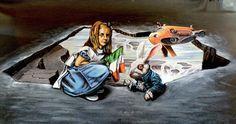 Down The Rabbit Hole: Artistas urbanos recrean a Alicia y el conejo blanco en una ilusión 3D