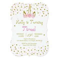 Pink and Gold Unicorn Birthday Invitation - baby shower gifts  party giftidea