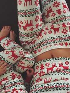Buy Adults Fall/Winter Long White Cotton Deer Snow Printed Christmas Pajamas Women's Clothing under US$ 32.99 only in SimpleDress.