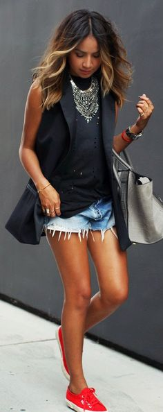 Daily New Fashion : Super Cute Outfits by Sincerely Jules Black Blazer, Shorts, Black outfit