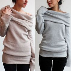 Womens Winter Turtle Neck Off Shoulder Long Sleeve Sweater Jumper Tunic Knitted