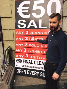THREE IS THE MAGIC NUMBER!! That's right folks, just when you thought our €50 SALE couldn't get any better, it has!! All remaining Summer stock is now clearing at an unbelievable ANY 3 FOR €50! Pictured is staff member Tommy Clarke putting the finishing touch to our now ANY 3 FOR €50 outside board!! ONLY FEW DAYS LEFT FOLKS, don't miss out!!