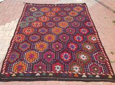 """8'6"""" X 6'2"""" Embroidered Burgundy Kilim rug, Vintage Turkish kilim rug, area rug…"""