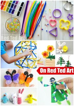 A collection of adorable pipe cleaner craft ideas on Red Ted Art! Which one of these Easy, Fun and Simple Crafts for kids will you make first? Fun but low mess and 5 Minute crafts for kids. 5 Min Crafts, Fun Arts And Crafts, Crafts For Girls, Easy Crafts For Kids, Craft Activities For Kids, Crafts To Make, Art For Kids, Craft Ideas, Simple Crafts