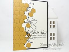 Global Design Project 075 Winged Creatures Theme Challenge Just Because Friendship Card using Hexagon Embossing folder and Garden In Bloom from Stampin' Up!