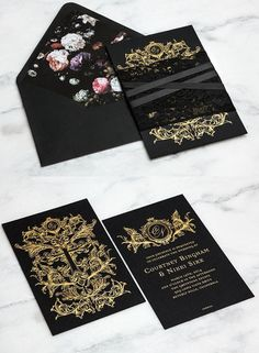 Striking Gold and Lace Wedding Invitation Kits | http://www.deerpearlflowers.com/striking-gold-lace-wedding-invitations/