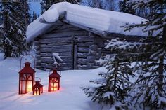 Lanterns in the snow in Finland