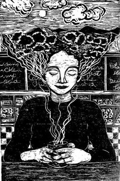Inspiration: a woodcut by Belkis Ramirez from A Cafecito Story by Julia Alvarez. Julia Alvarez, The Big Read, Kitchen Witchery, Frame Of Mind, Ex Libris, Scribble, How Are You Feeling, Clouds, In This Moment