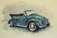 """Volkswagen Beetle --a car commission I did using watercolor paints"""" Car Drawings, Car Painting, Vw Beetles, Old Trucks, Art Cars, Painting Inspiration, Mail Art, Vintage Cars, Watercolor Paintings"""