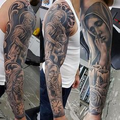 Guys Religious Themed Jesus Mother May Full Sleeve Tattoos