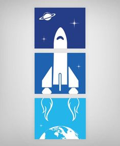 Rocket Ship Wall Art, Outer Space Nursery Theme, Boys Room Printables, Set of Outer Space Nursery, Space Themed Nursery, Space Boy, Bedroom Themes, Bedroom Ideas, Baby Boy Rooms, Kids Room, Retro, Illustration