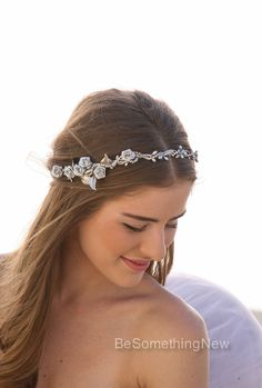 Silver Rustic Woodland Wedding Hair Wreath Headband Bridal Hair Wedding Accessory with Silver Leaves and Flowers, Bridal Headpiece