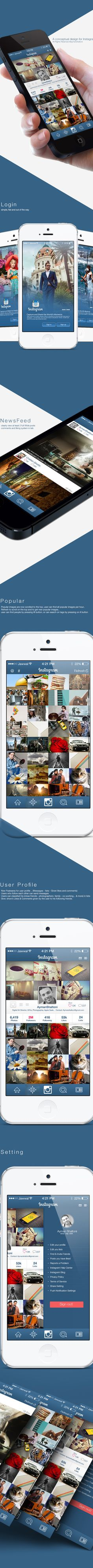 Instagram Redesign Concept by Ayman Shaltoni, via Behance