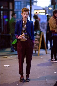 Cool Clothes on a timid looking guy.